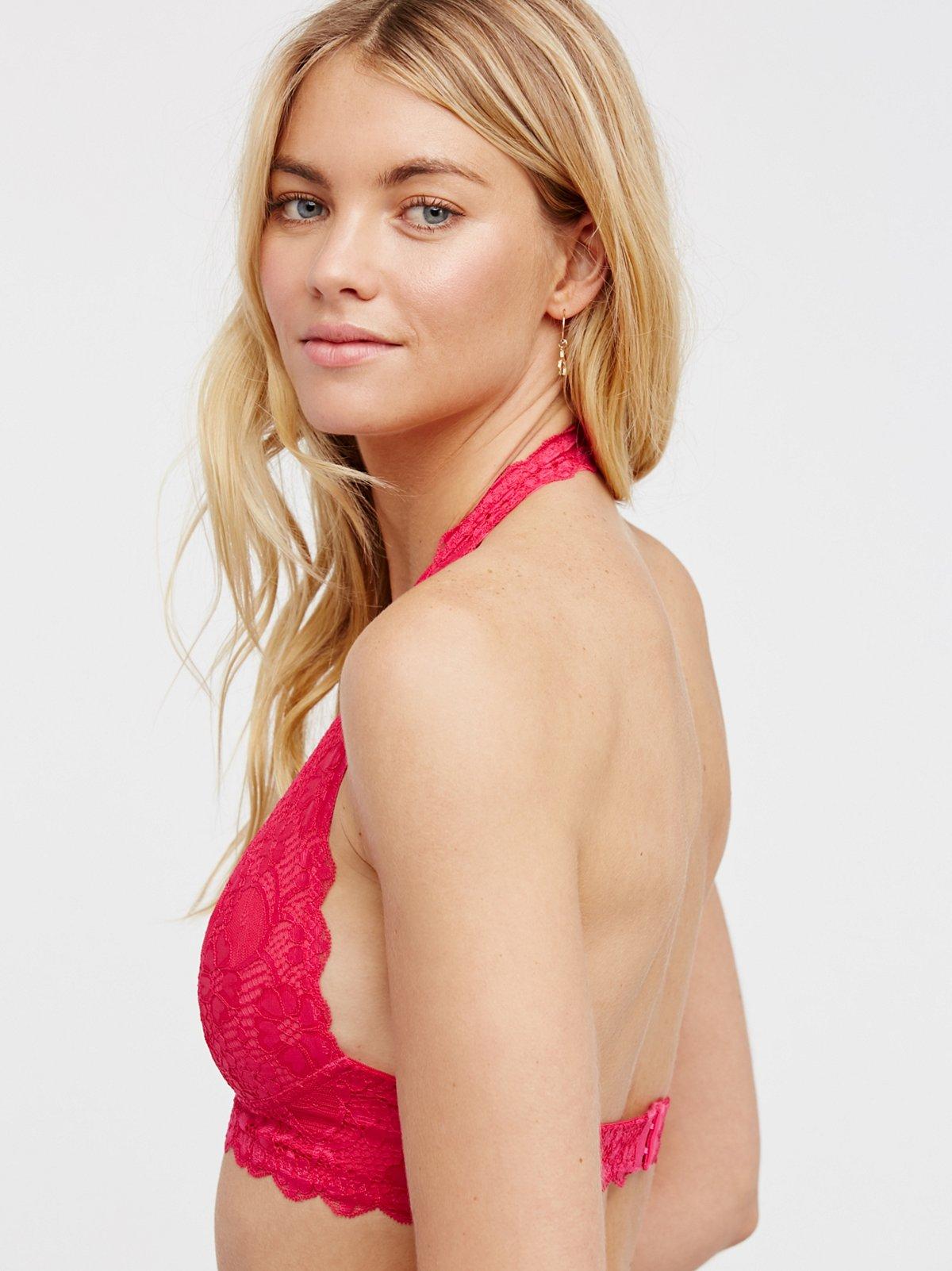 织带蕾丝挂脖文胸