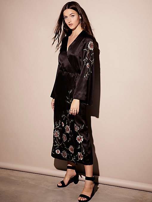 Product Image: Embroidered Wrap Kimono Dress