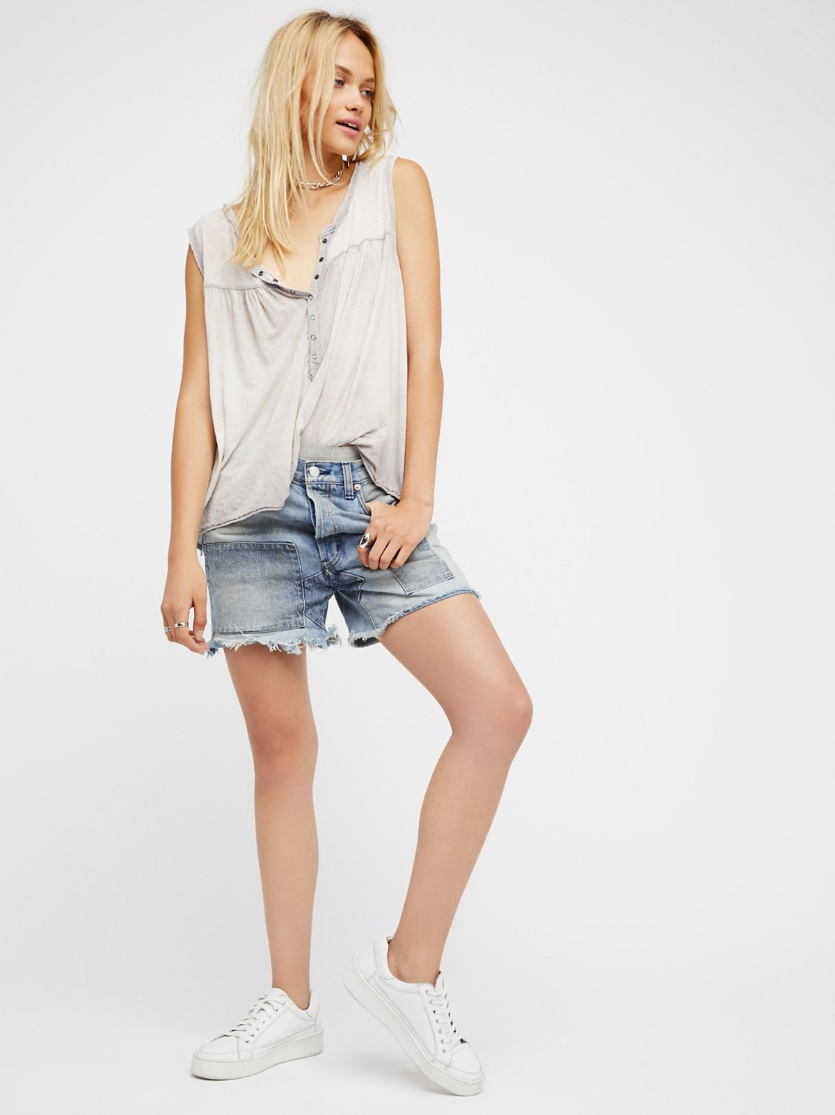 Relaxed & Patched Denim Shorts