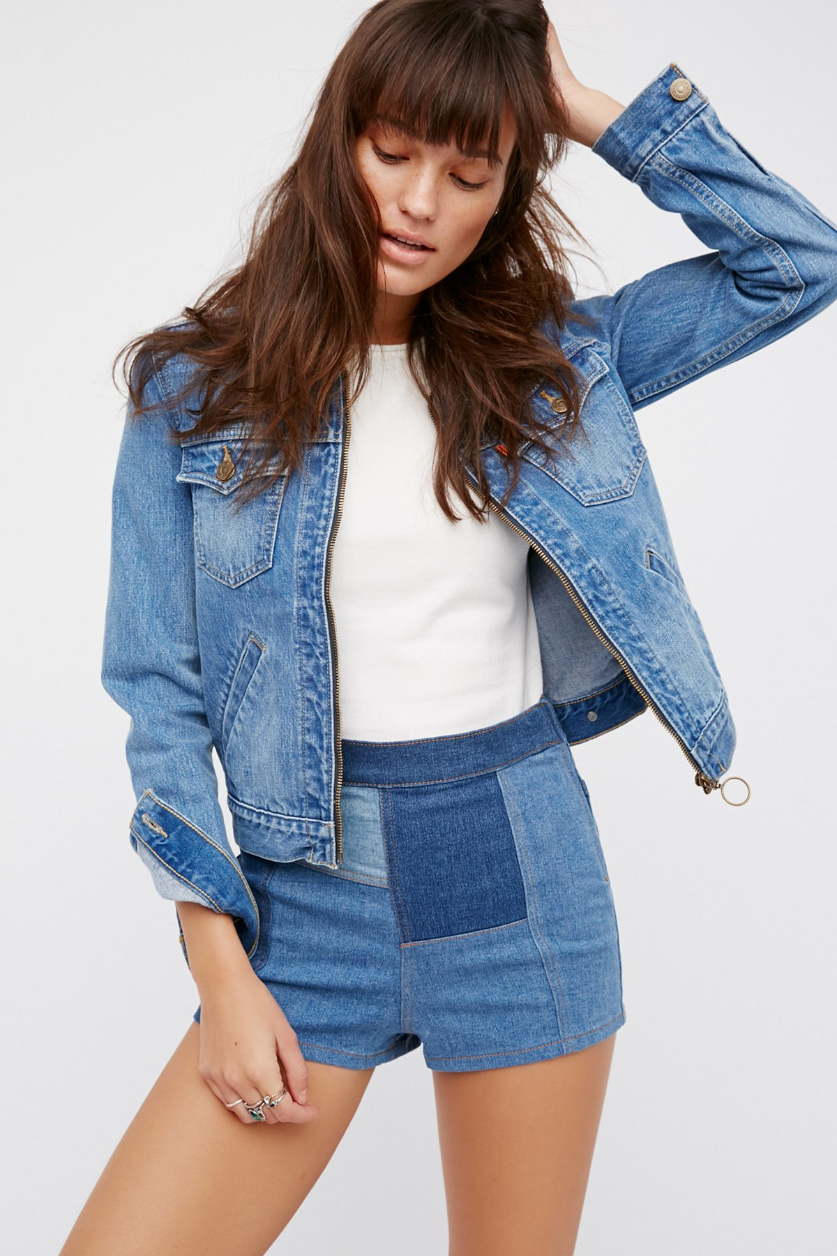 Patched High & Tight Denim Shorts at Free People Clothing Boutique