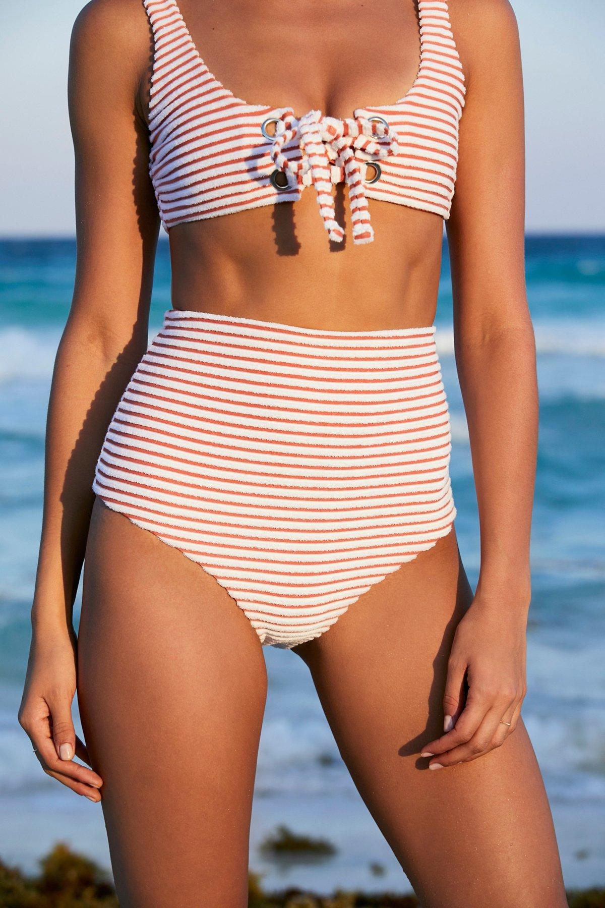 Terry High Waist Bikini Bottom