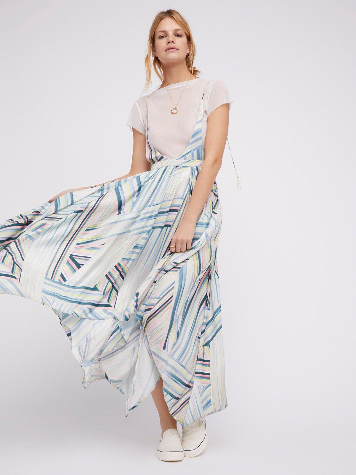 Double Rainbow Pinafore Maxi Dress