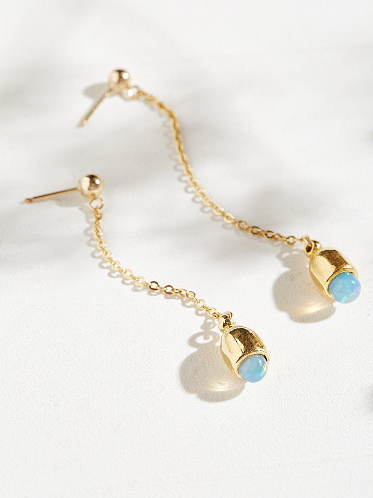 Zoe Opal Drop Pendulum Earring