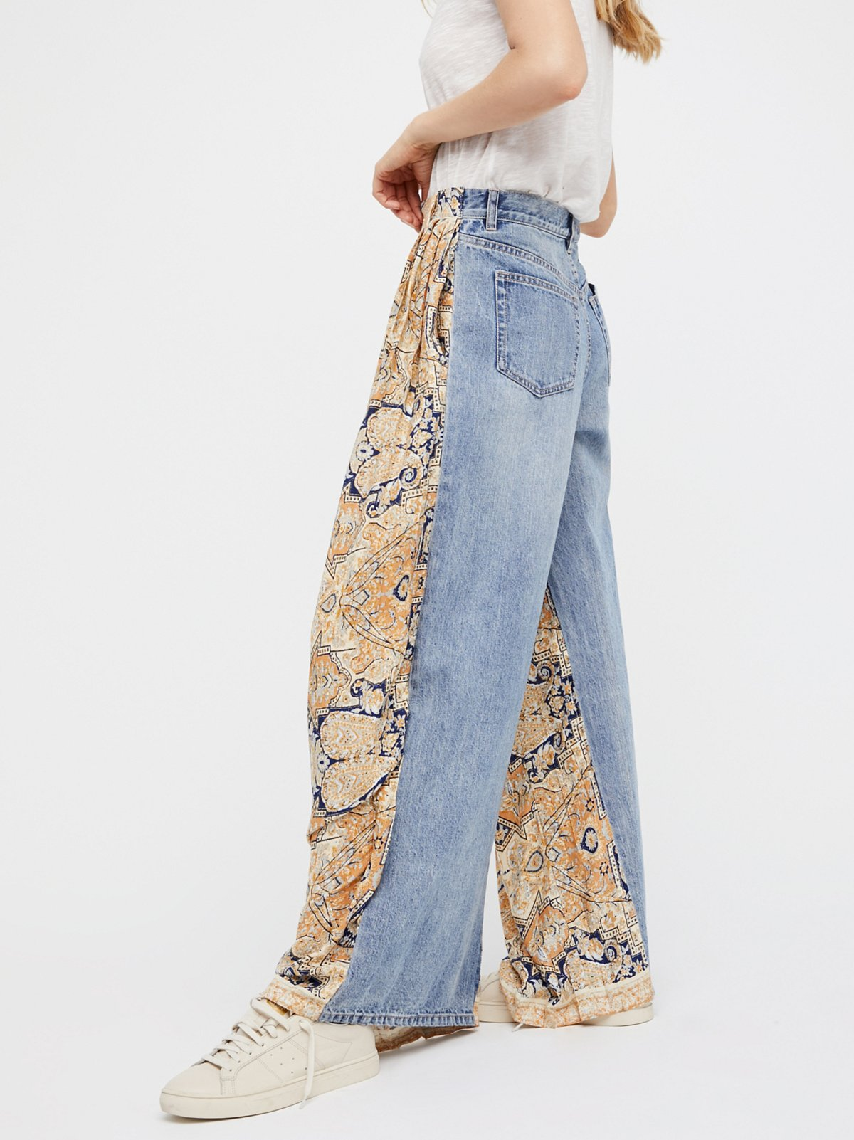 Coming and Going Printed Wide Leg Jeans