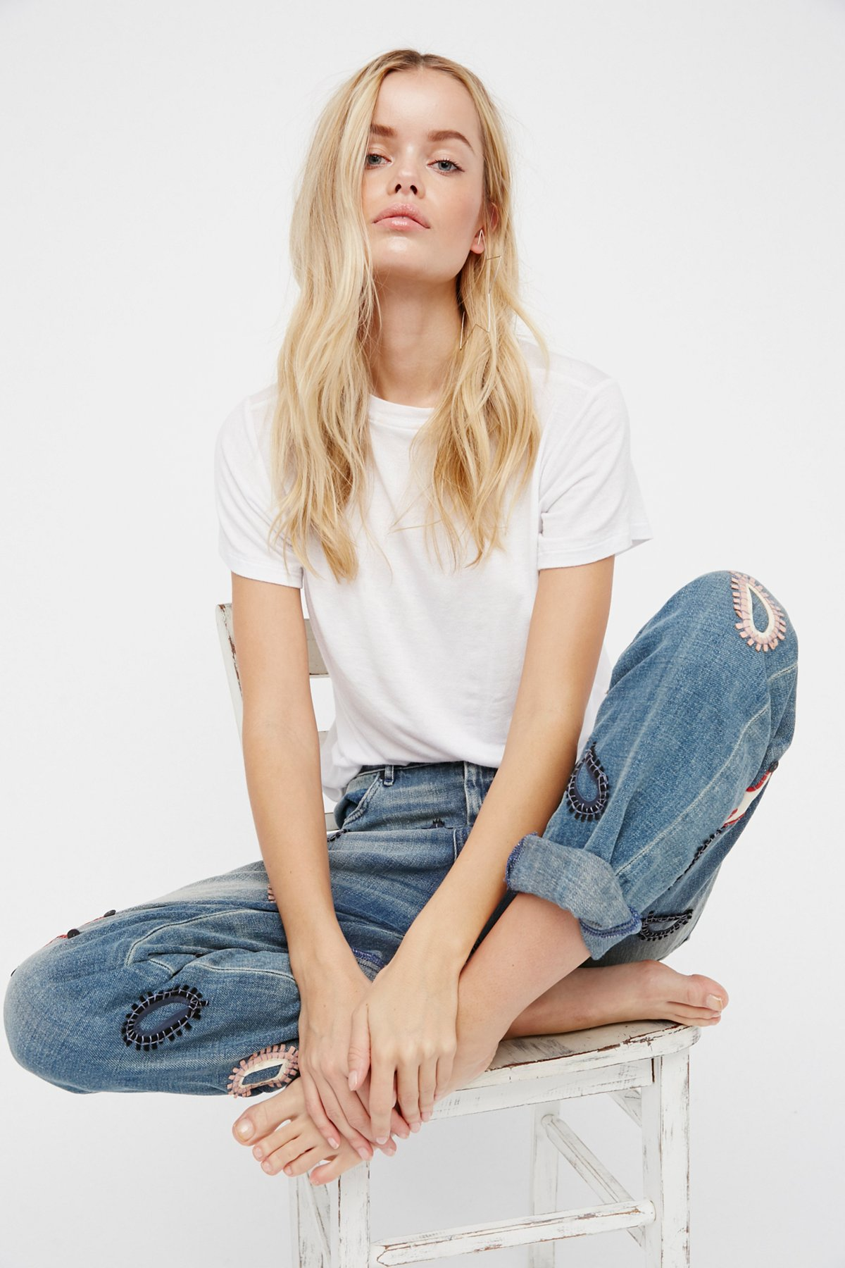 L'Adorable Boyfriend Jeans with Leather Patches