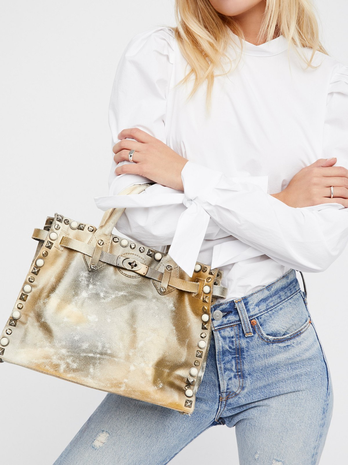 Lila Distressed Leather Satchel