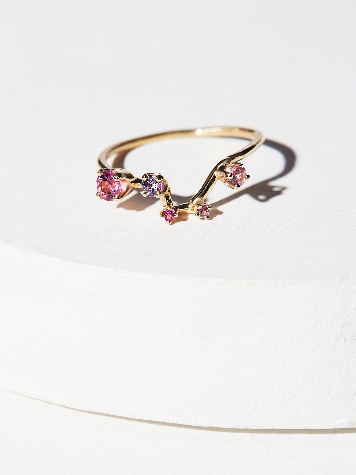 14K金星群宝石戒指