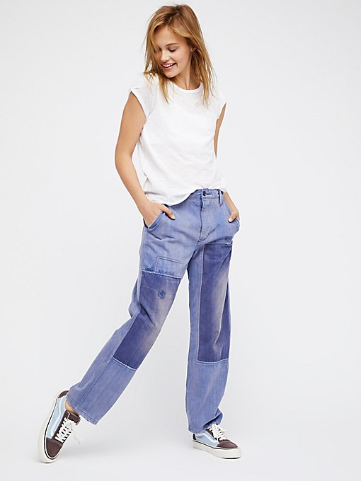 Product Image: 宽松拼贴男友式牛仔裤