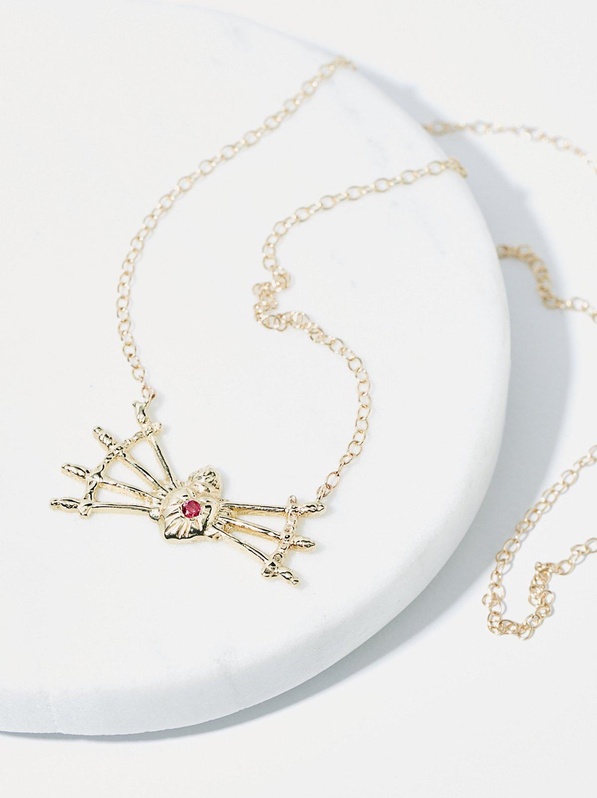 14K Sacred Heart + 7 Swords Necklace