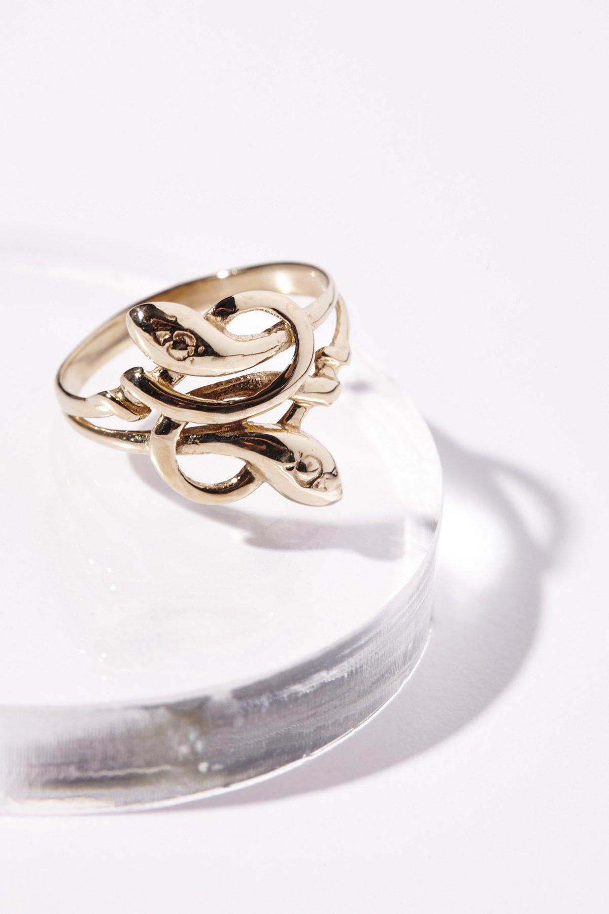 10k金Love Knot蛇形戒指