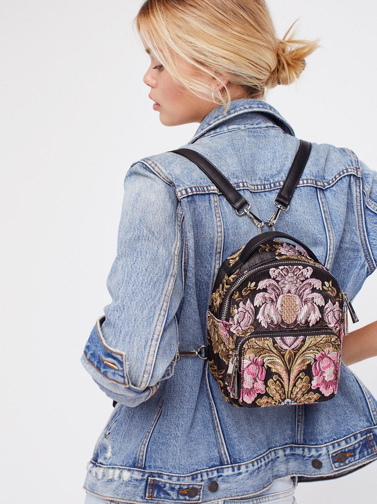 Brocade Floral Mini Backpack