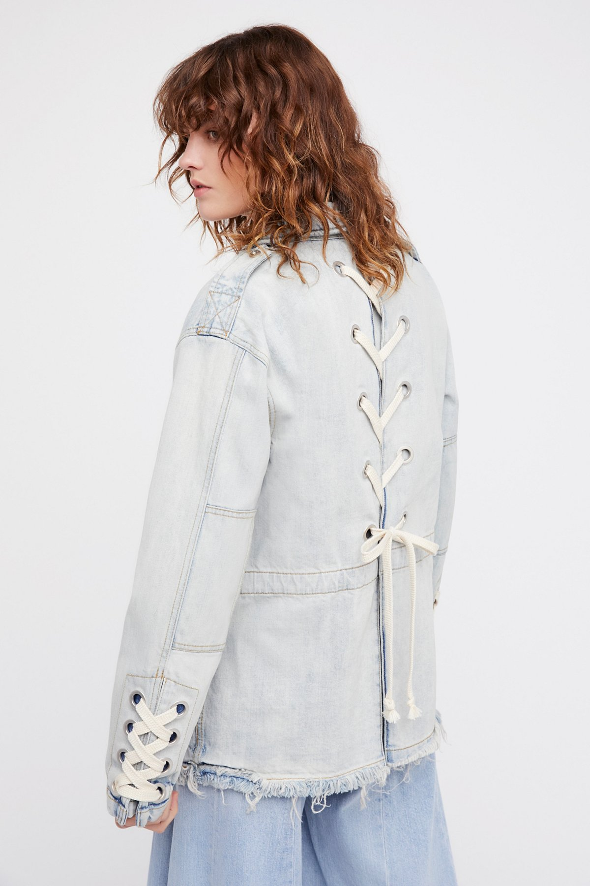 Denim Lace-Up Jacket