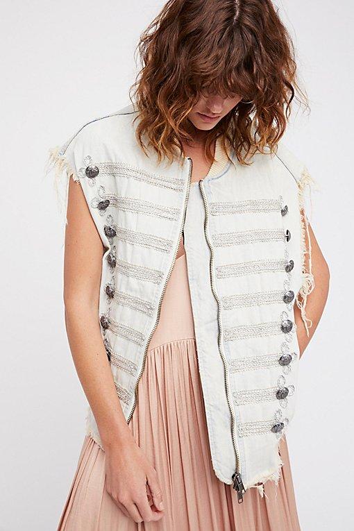 Product Image: Embroidered Officer Denim Vest