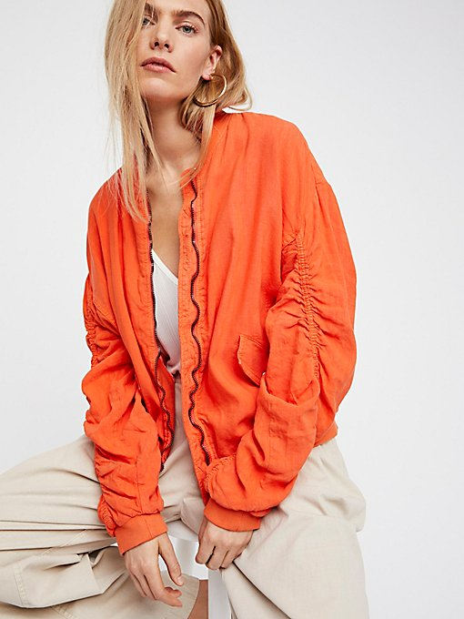 Product Image: Ruched Linen Bomber