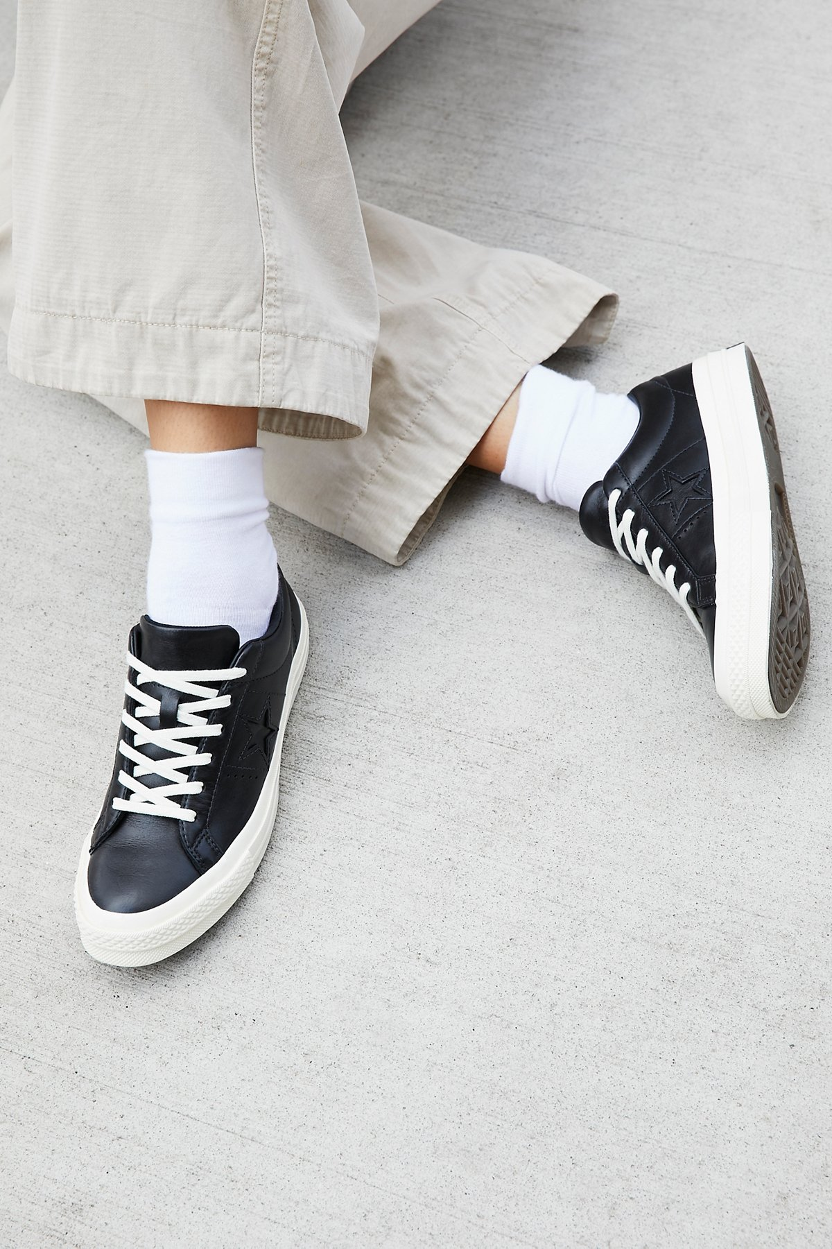 Premium Leather Low Top Trainers