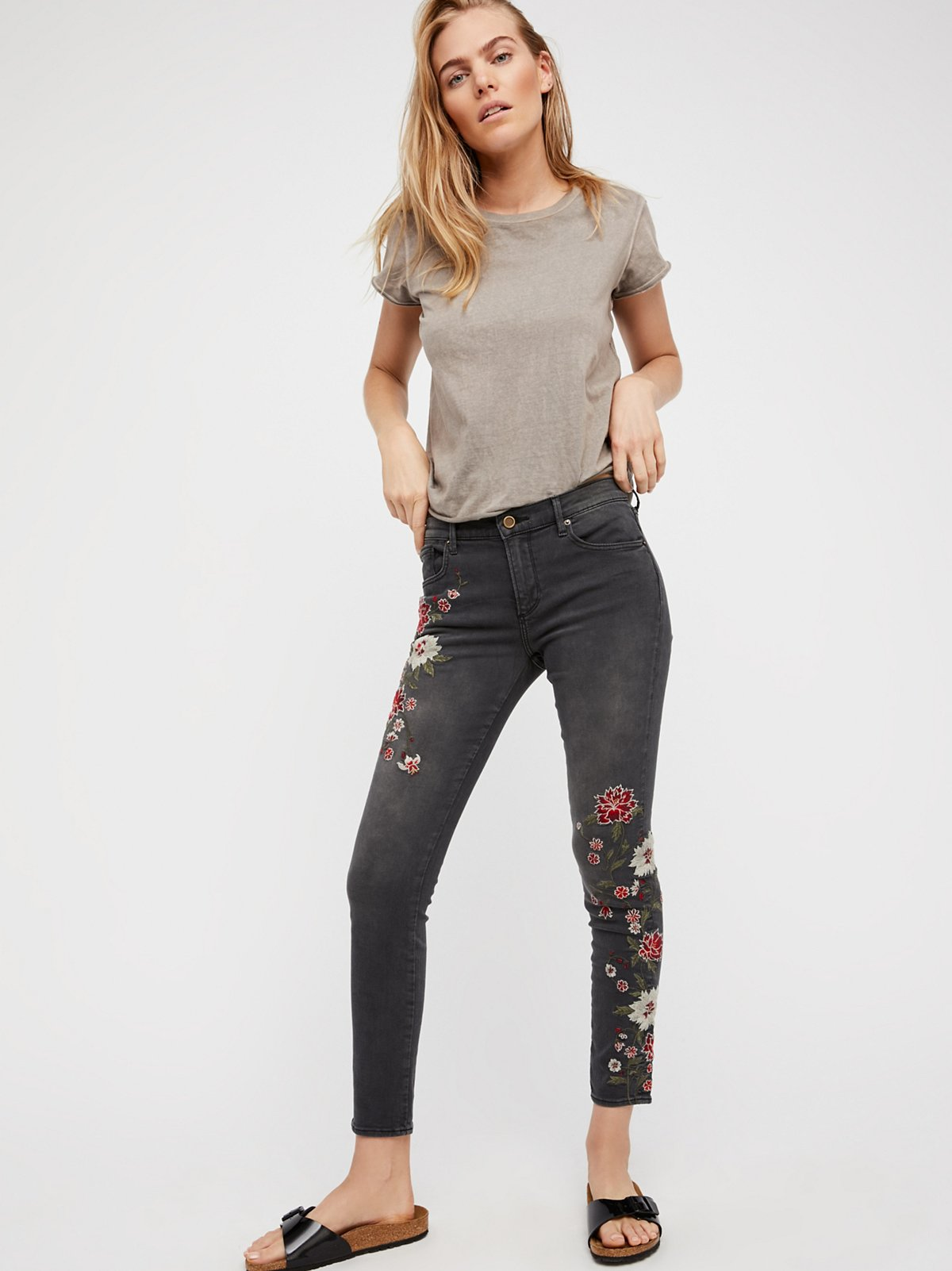 Driftwood Jackie Embroidered Skinny Jeans At Free People