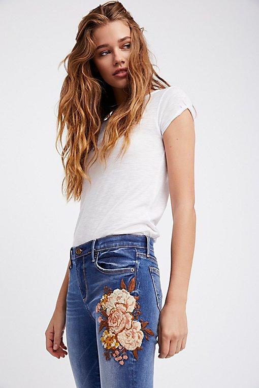 Product Image: Jackie刺绣紧身牛仔裤