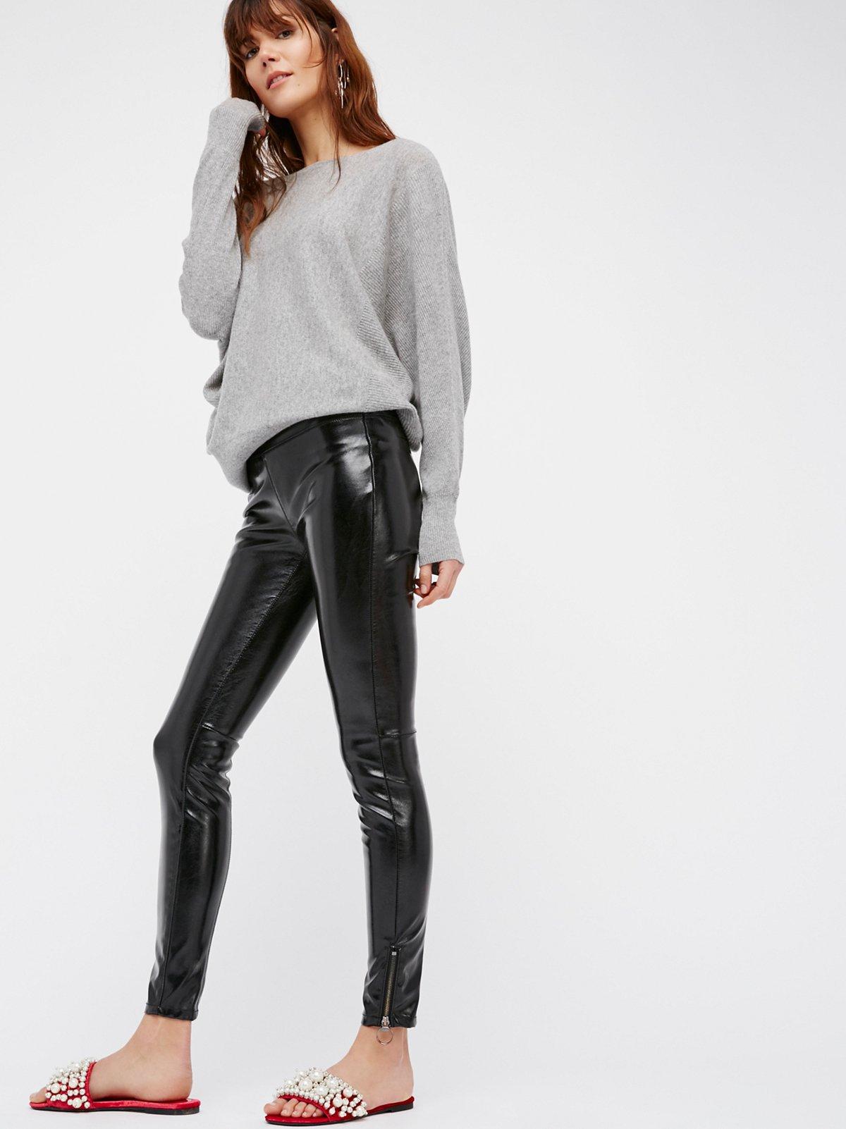 人造漆皮打底裤