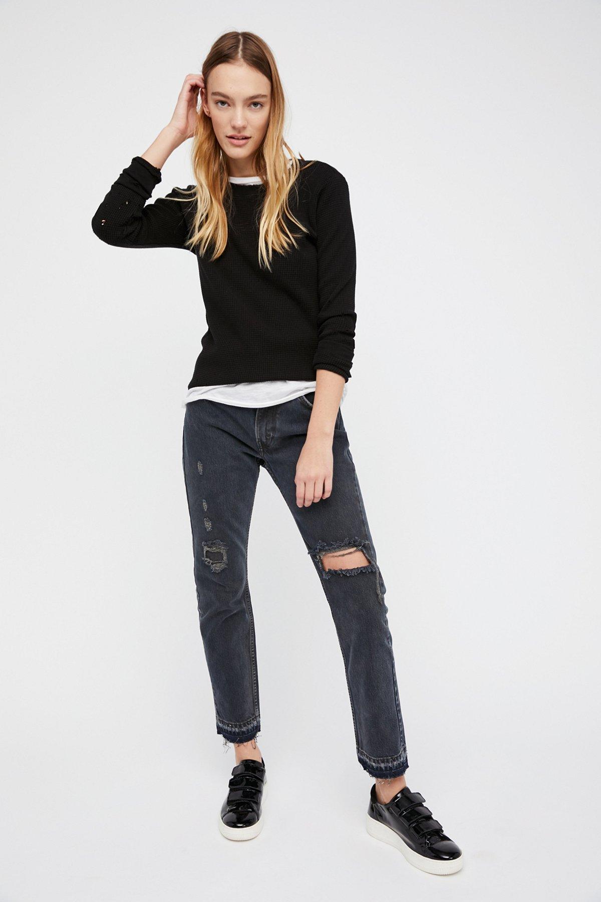 501c Distressed Crop Jeans