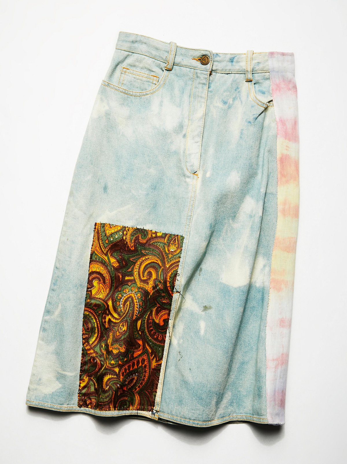 Vintage 1980s Bleached and Patched Skirt