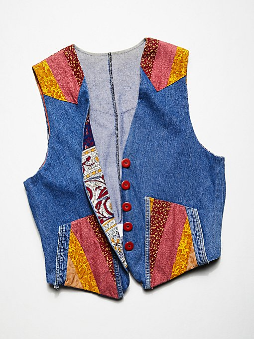 Product Image: Vintage 1980s Patchwork Denim Vest