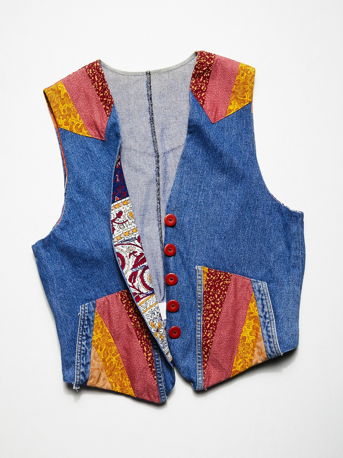 Vintage 1980s Patchwork Denim Vest