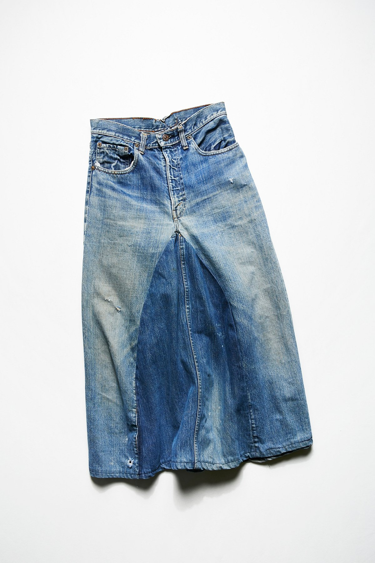 Vintage 1970s Mid Length Denim Skirt