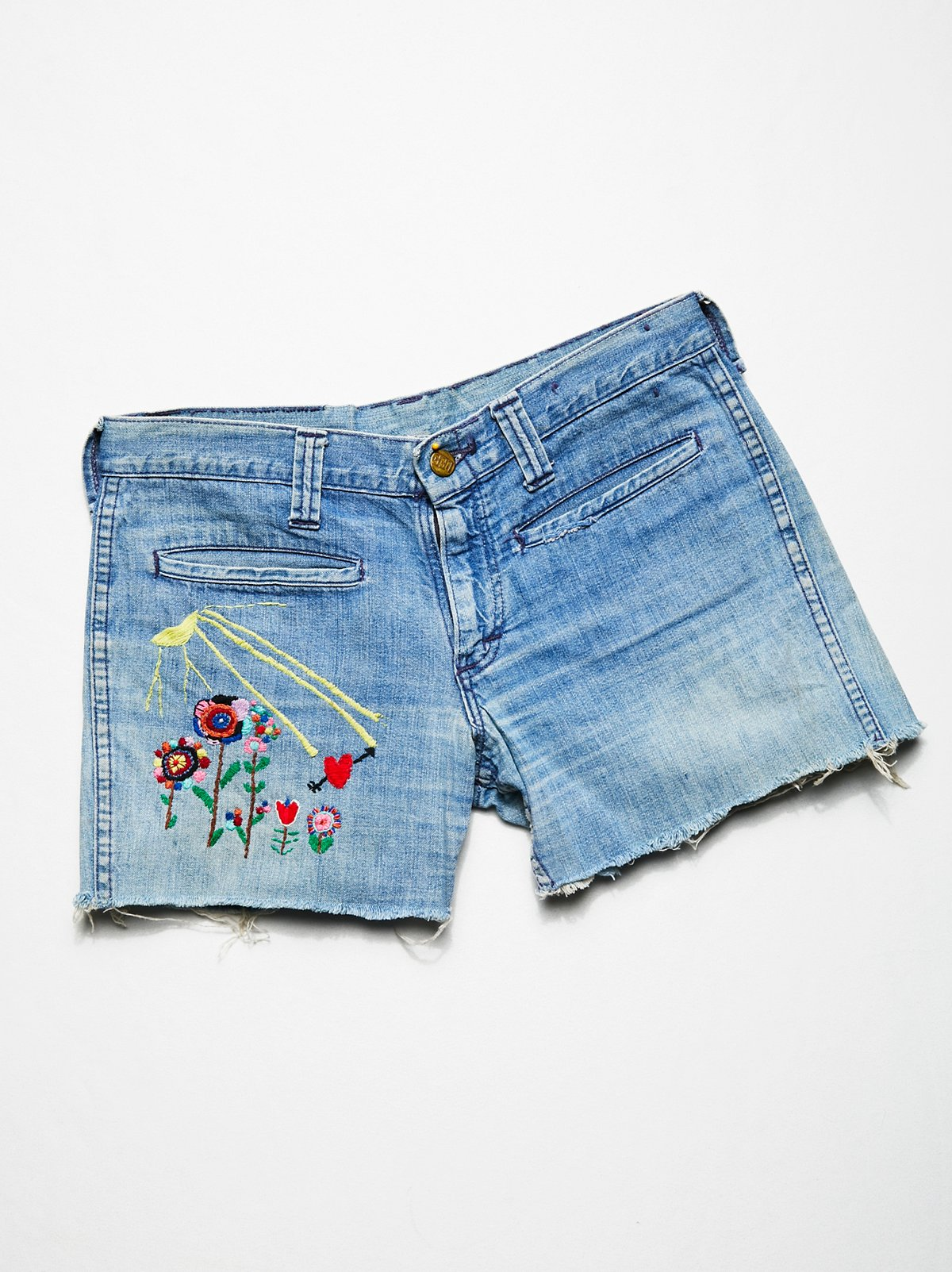 Vintage 1960s Embroidered Cut Offs