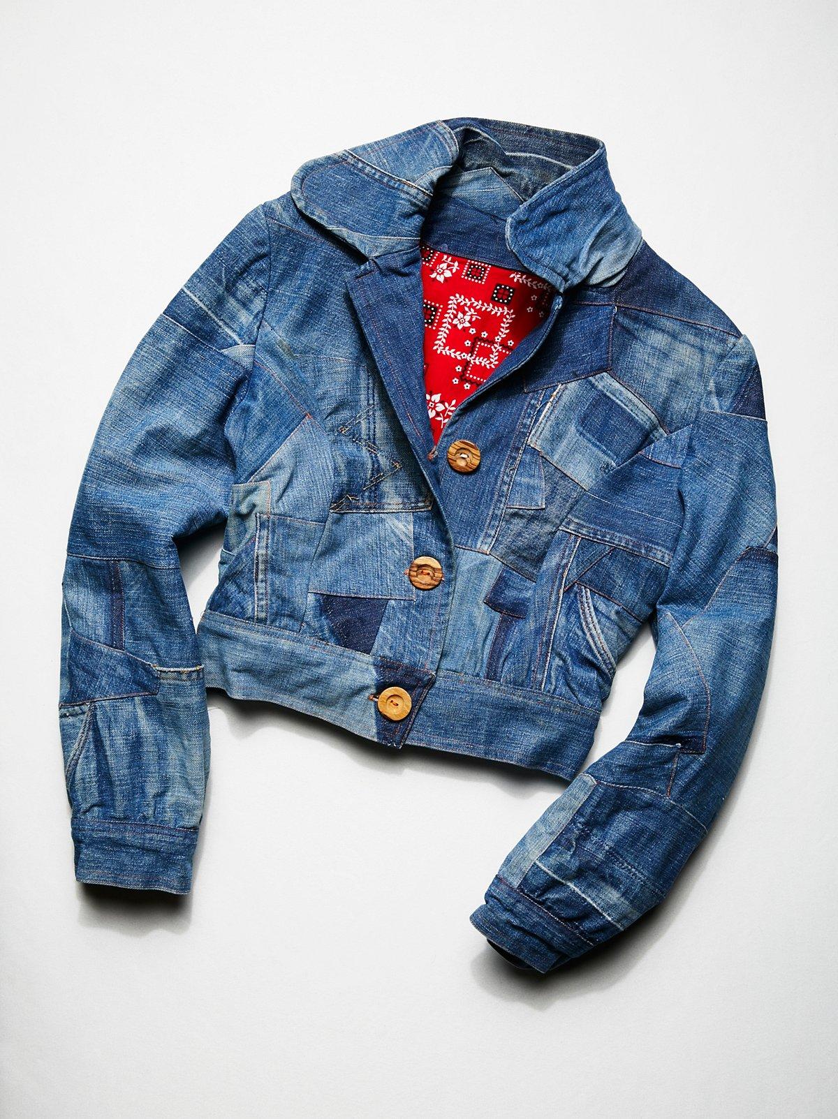 Vintage 1980s Denim Patchwork Jacket