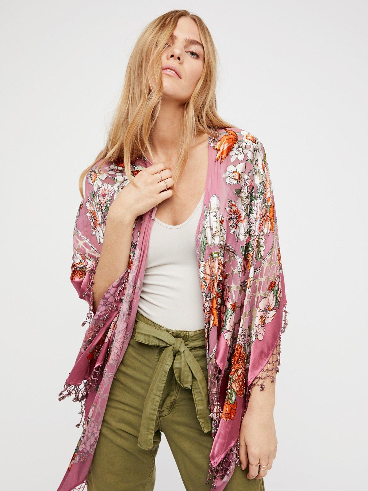 Burnout Silk Butterfly Kimono