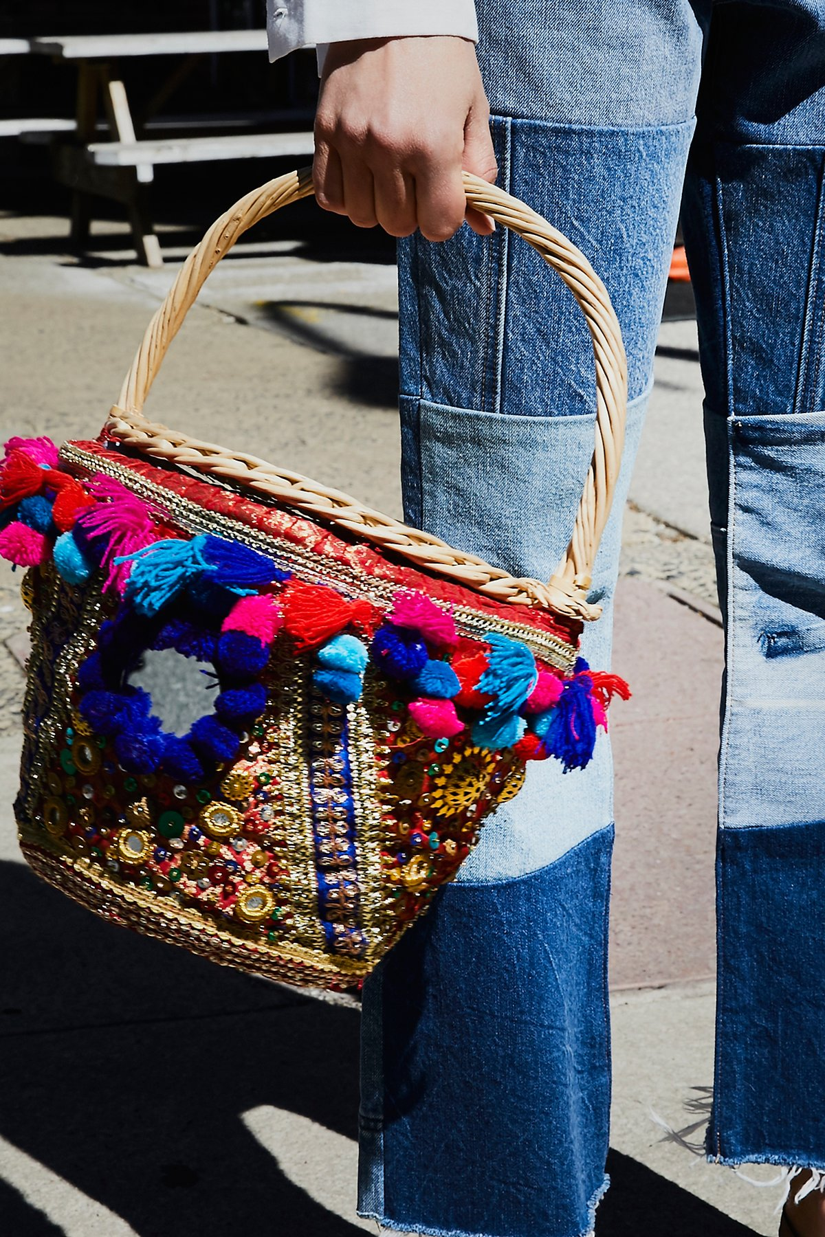 Embellished Straw Basket