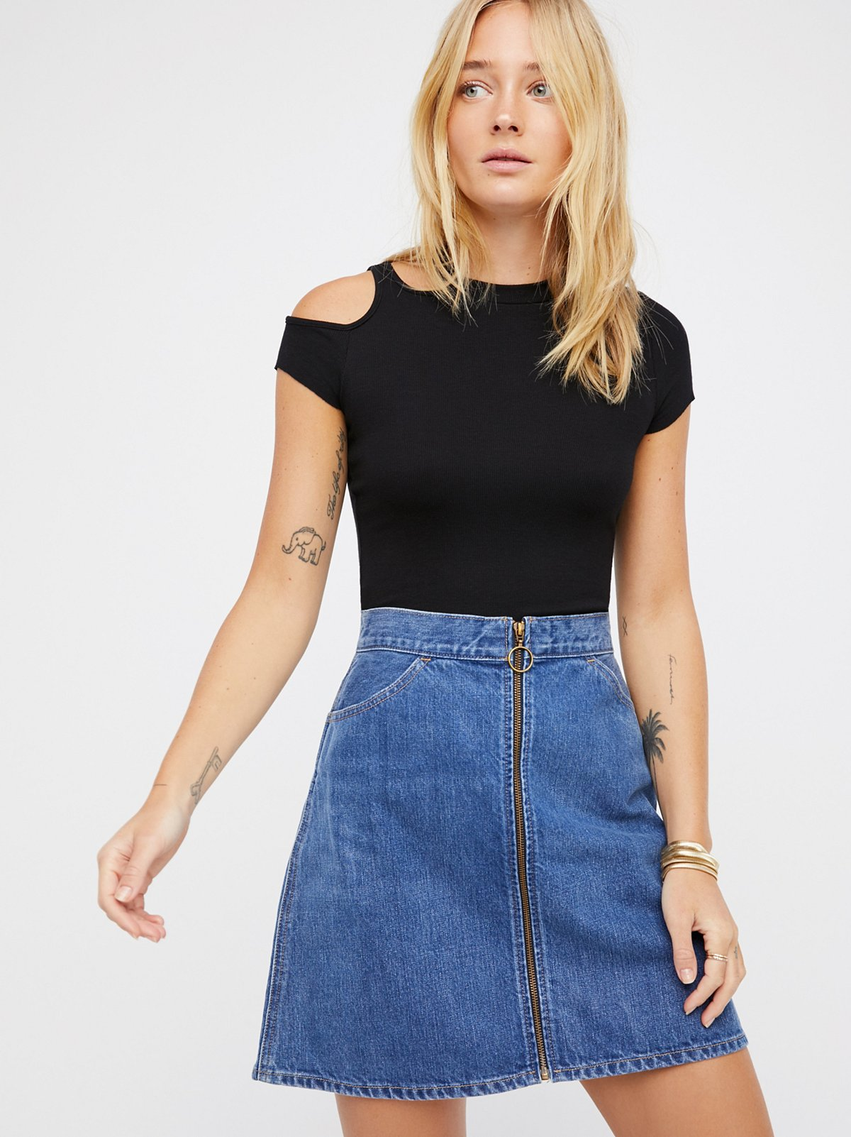 Orange Tab Denim Skirt