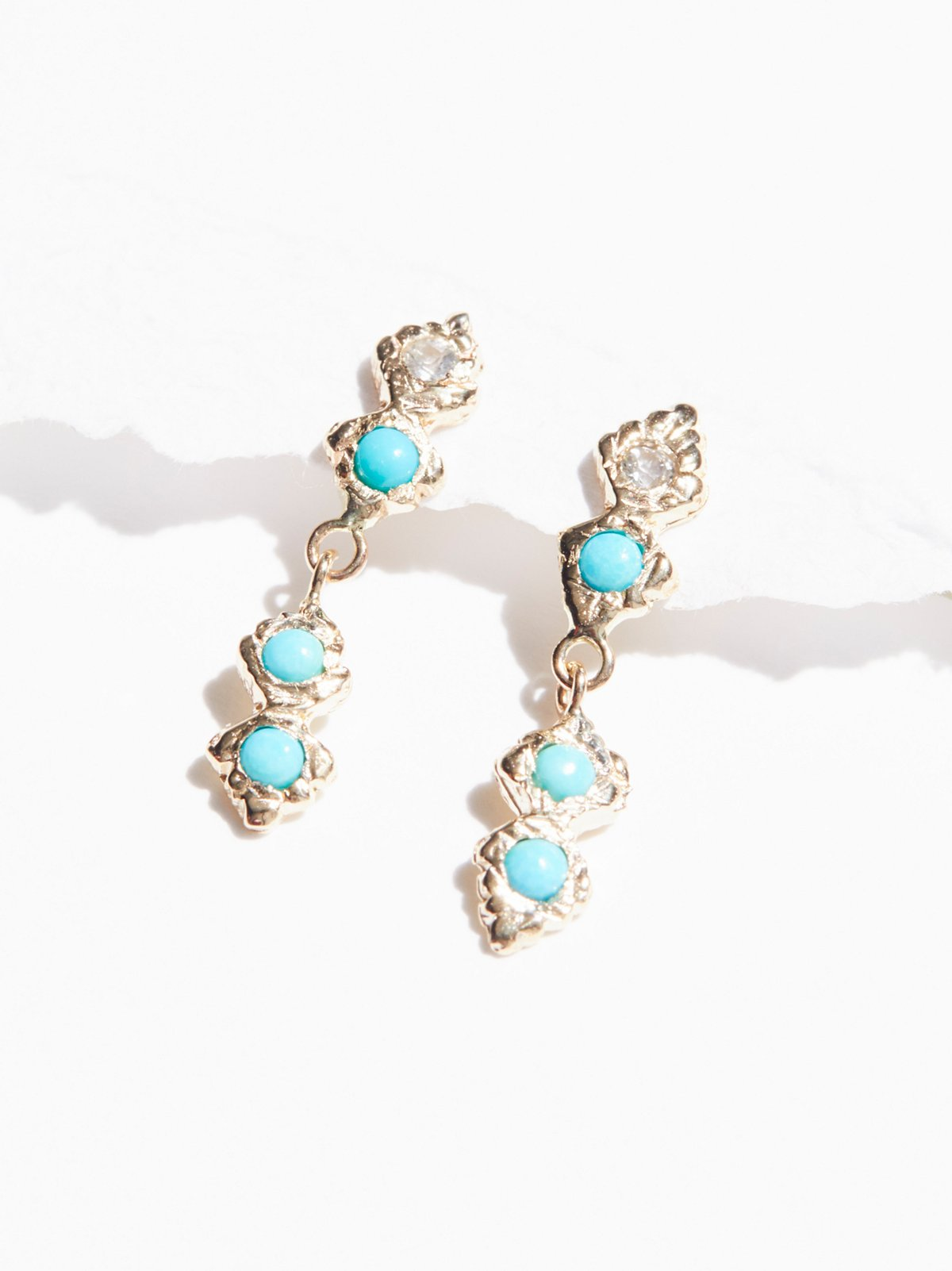 14k光芒蓝宝石绿松石耳环