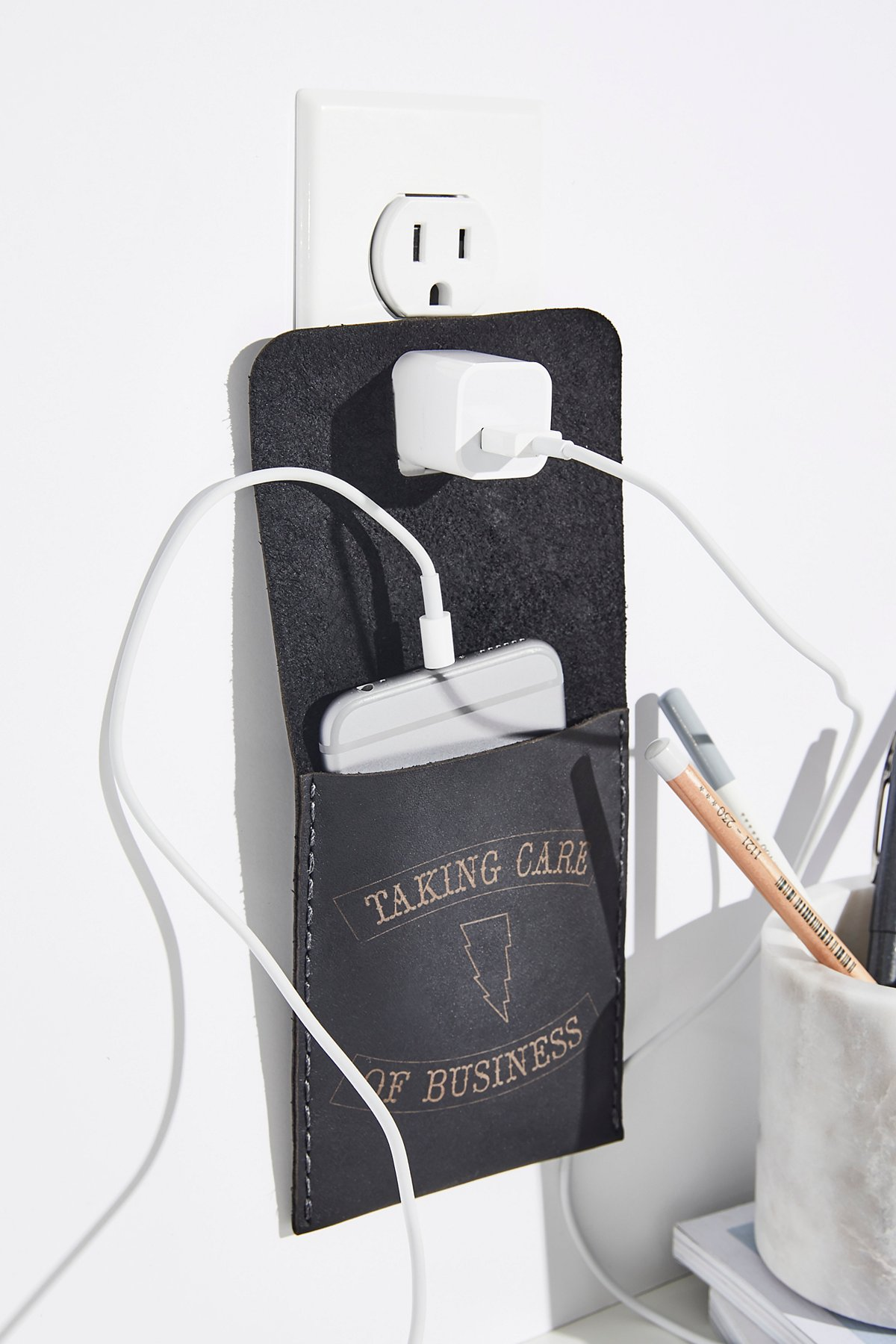 Leather Wall Charging Station
