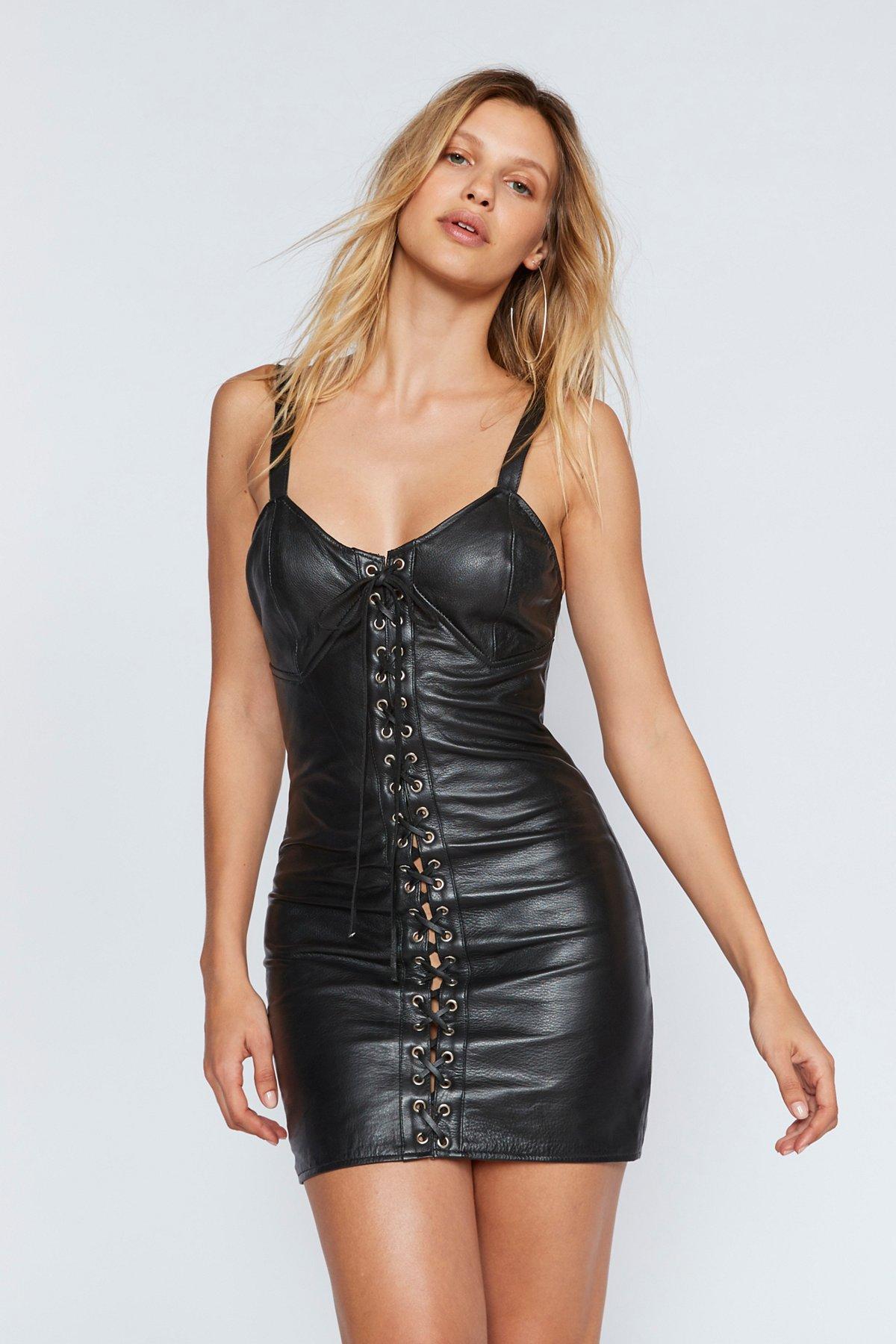 City Slicker Leather Mini Dress