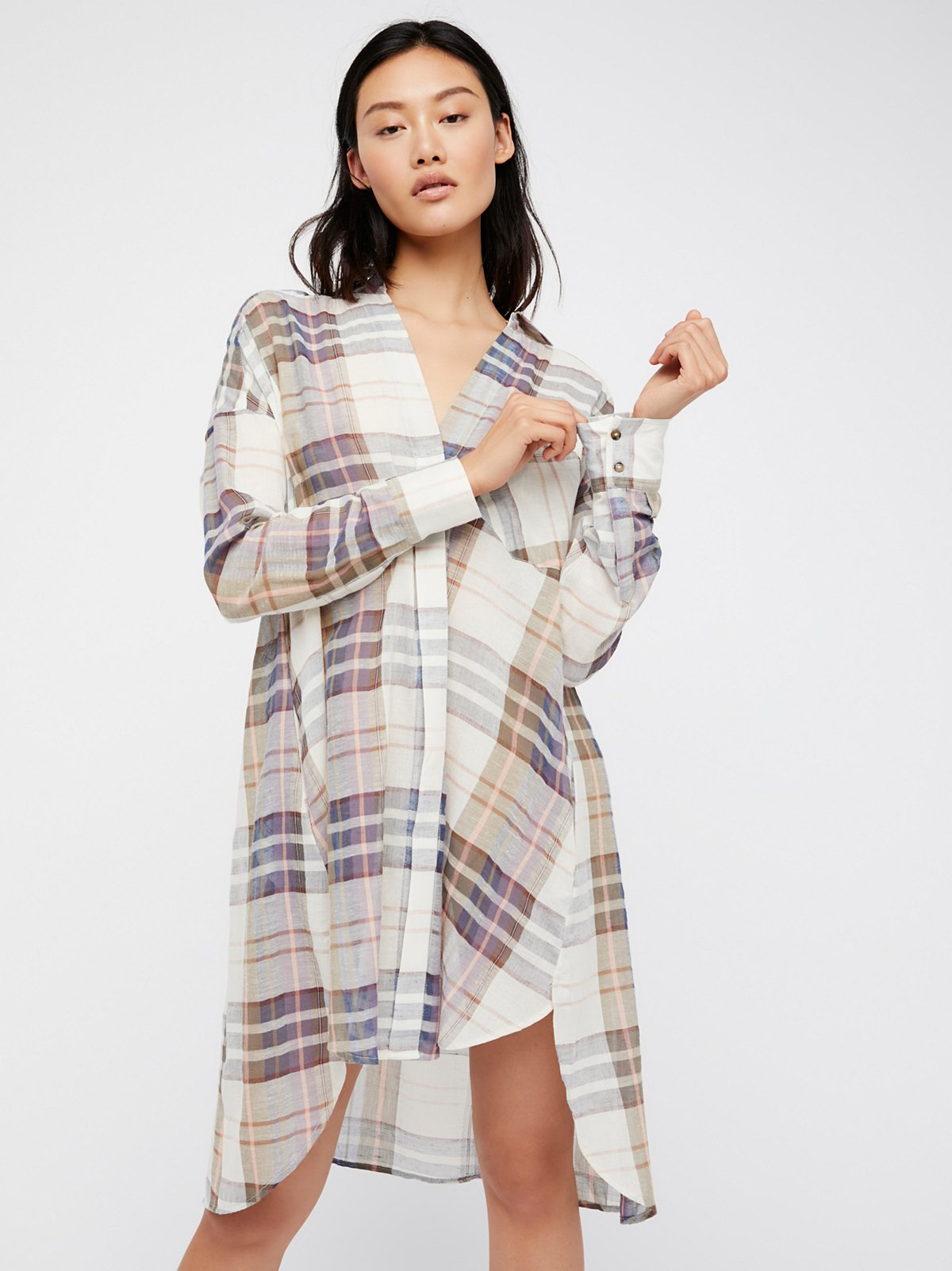 Jet Set Plaid Maxi Buttondown