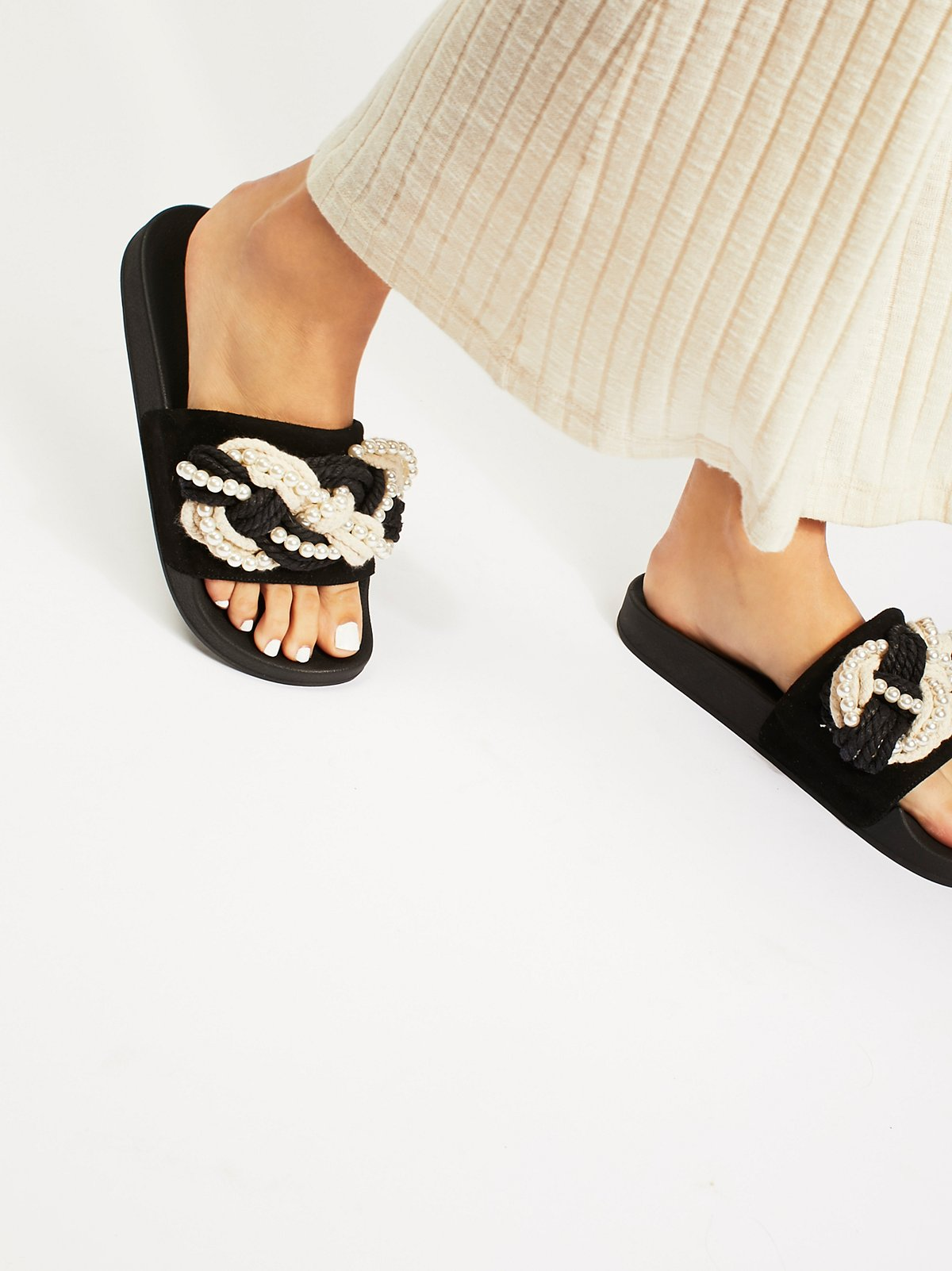 Mother Of Pearl Slip Sandals