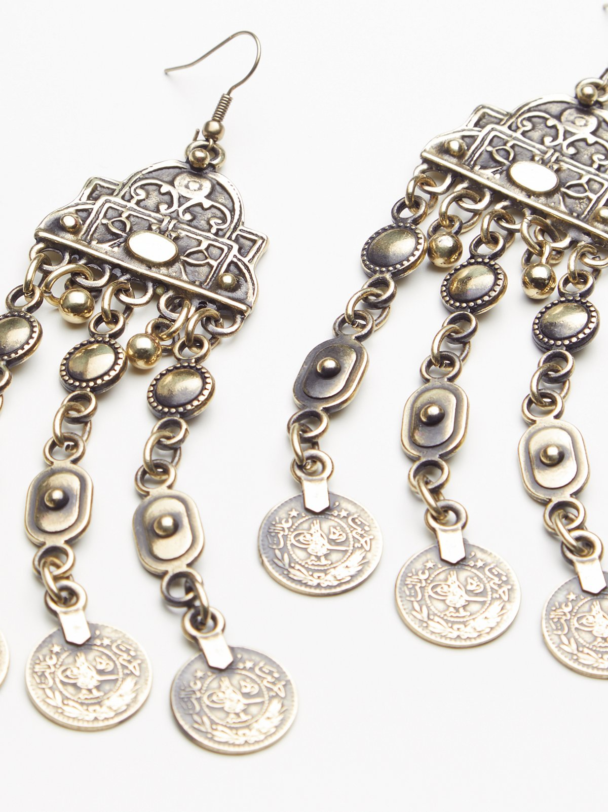 Cascading Coin Drop Earrings