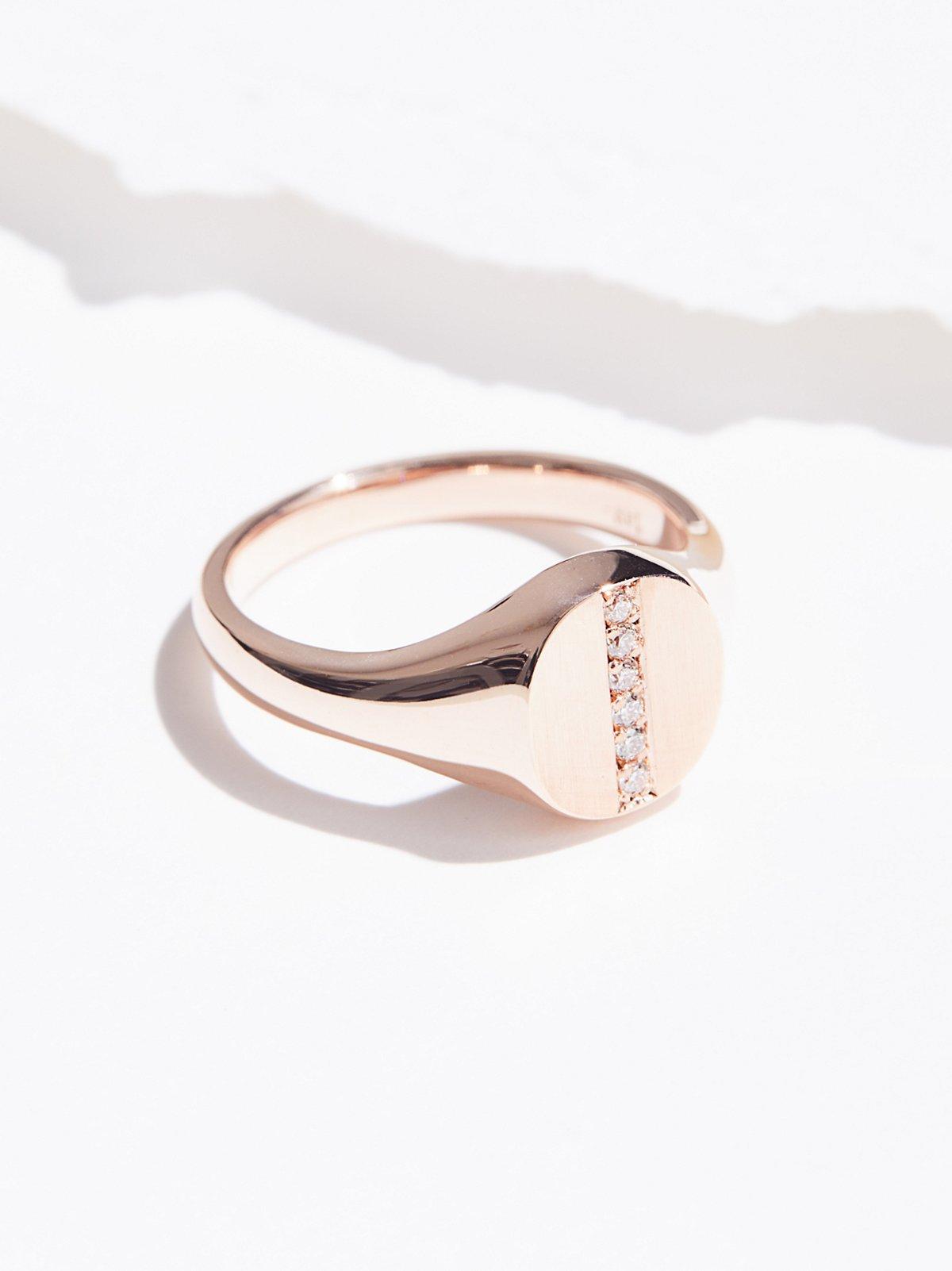 14K Diamond Bar Signet Ring