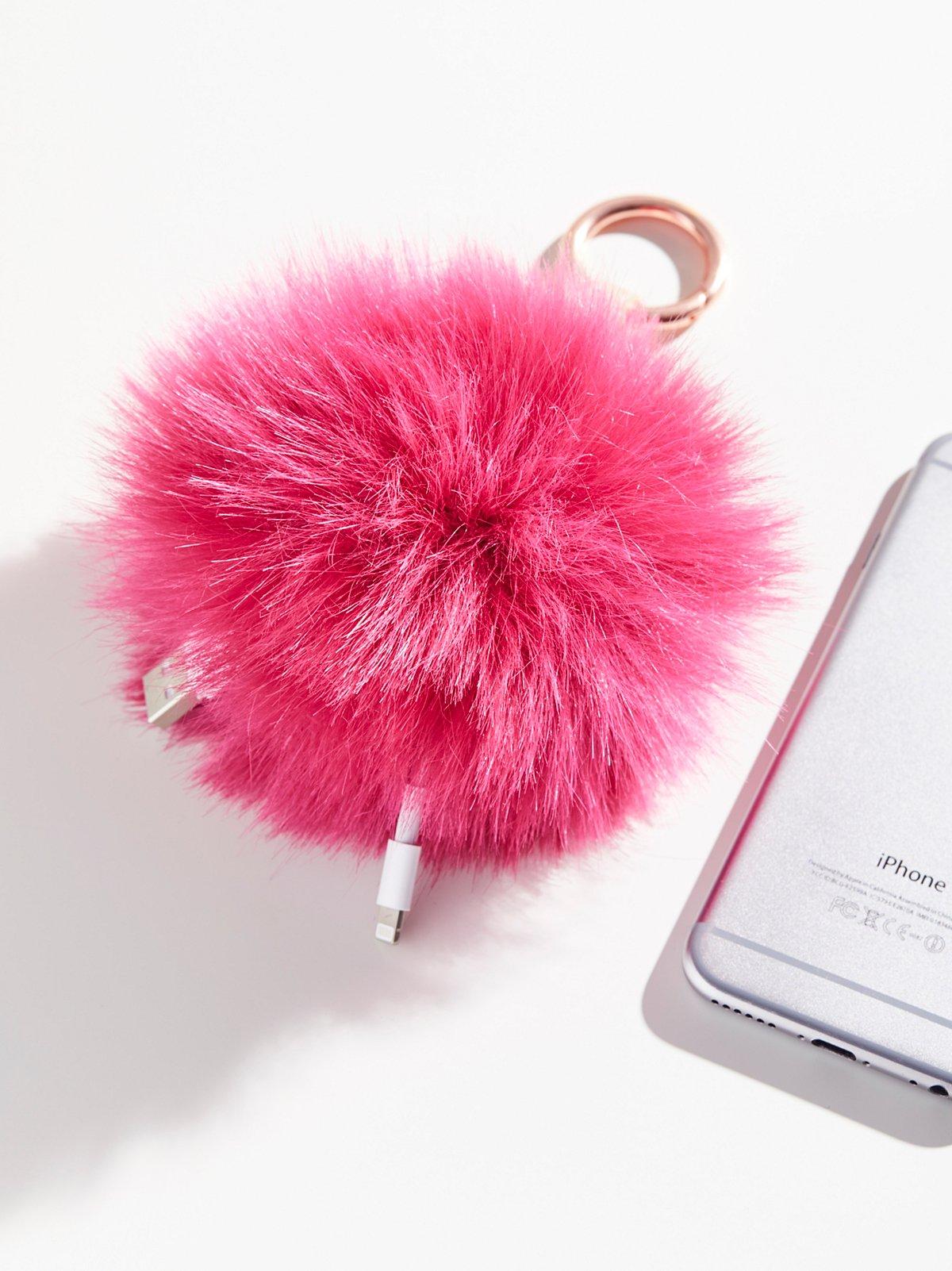 Pom Pom Charger Cord Keychain