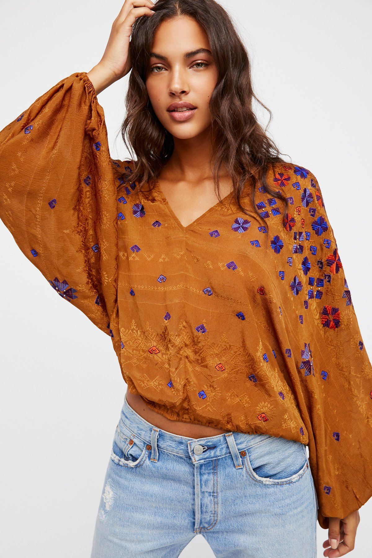 Music in Time Embroidered Top