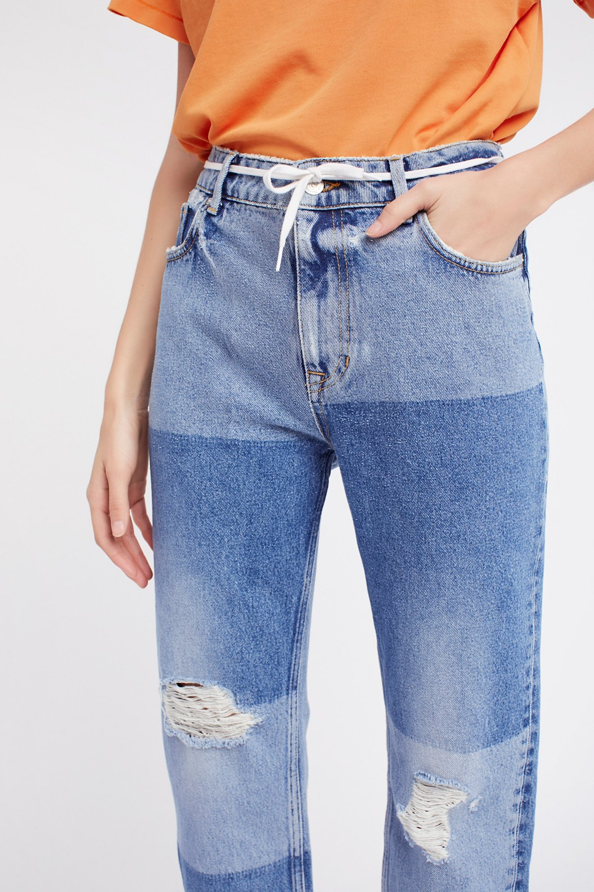 Ripped Patchwork Girlfriend Jeans