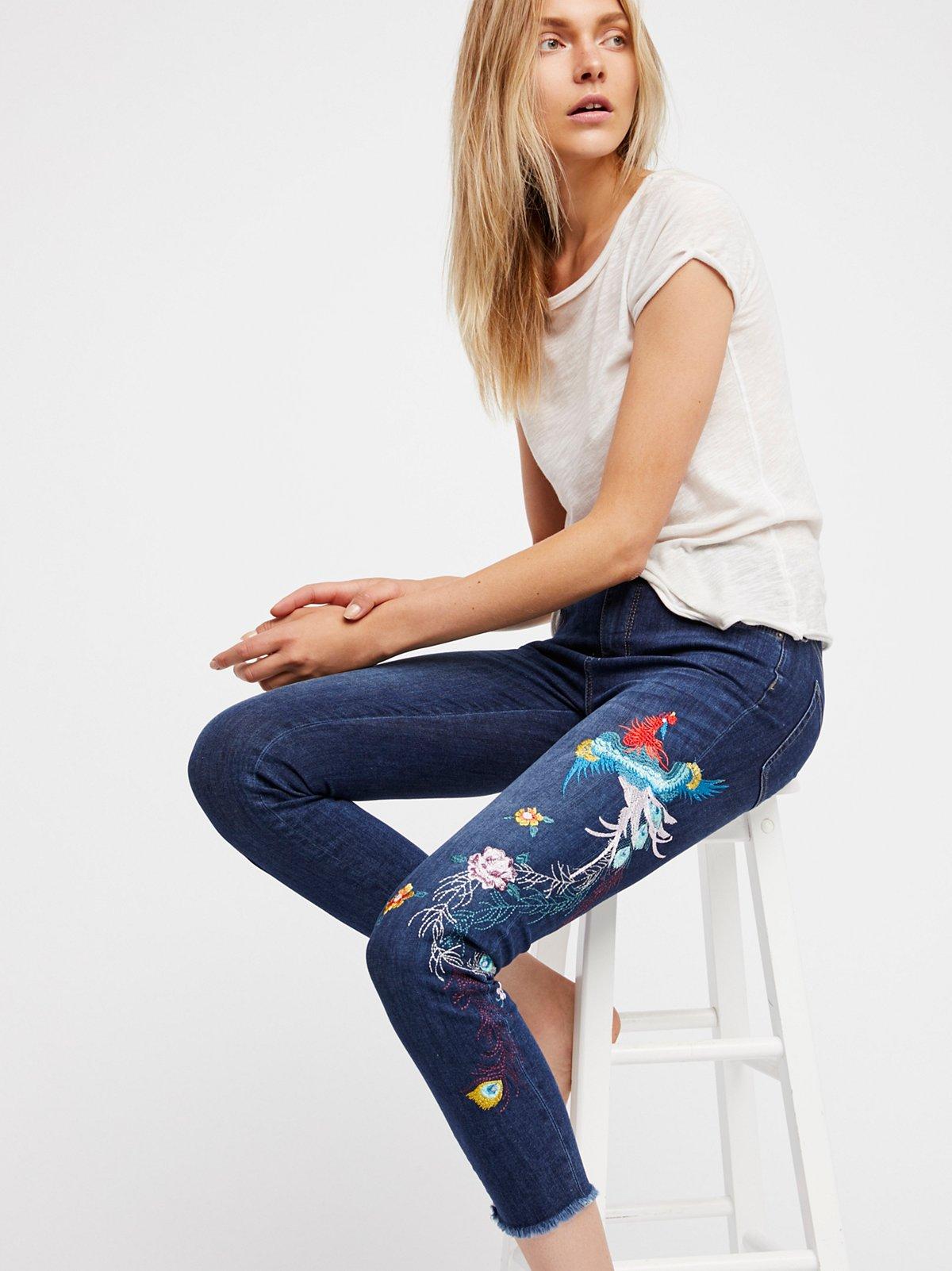 Embroidered Bird Jean