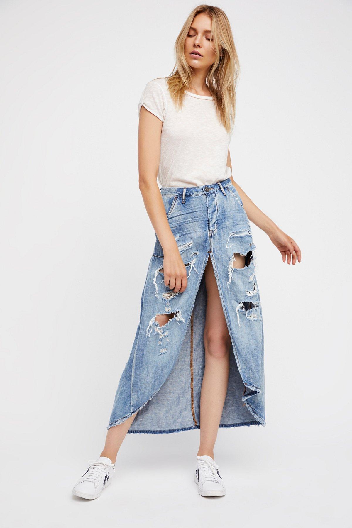 Distressed To Impress Denim Skirt