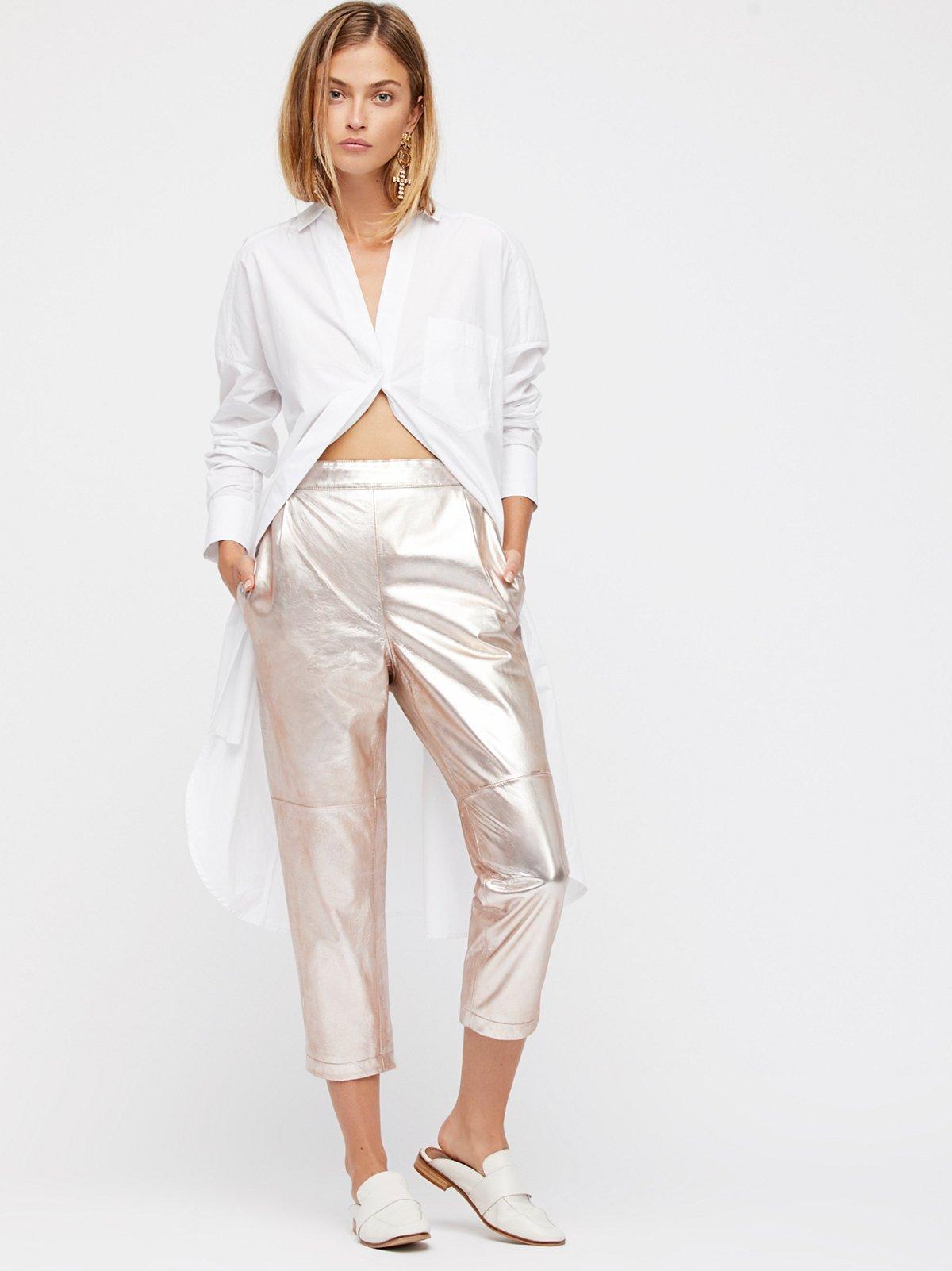 金属光泽裤子