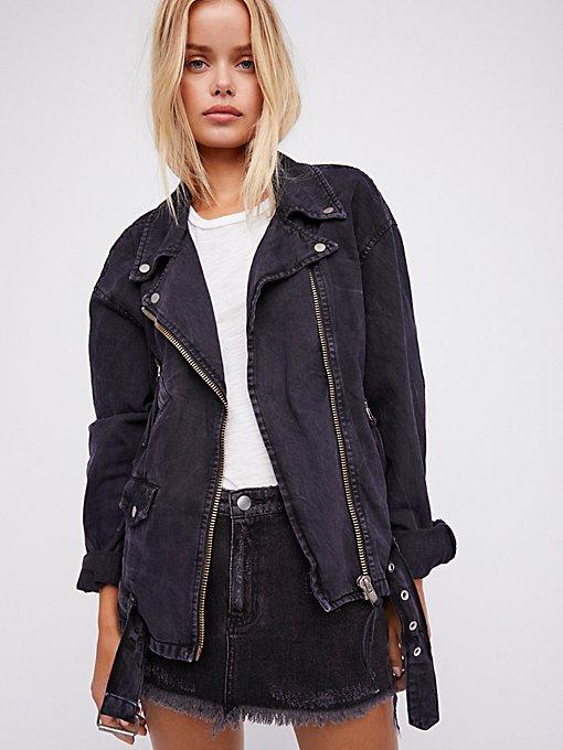 Product Image: Oversized Denim Moto Jacket