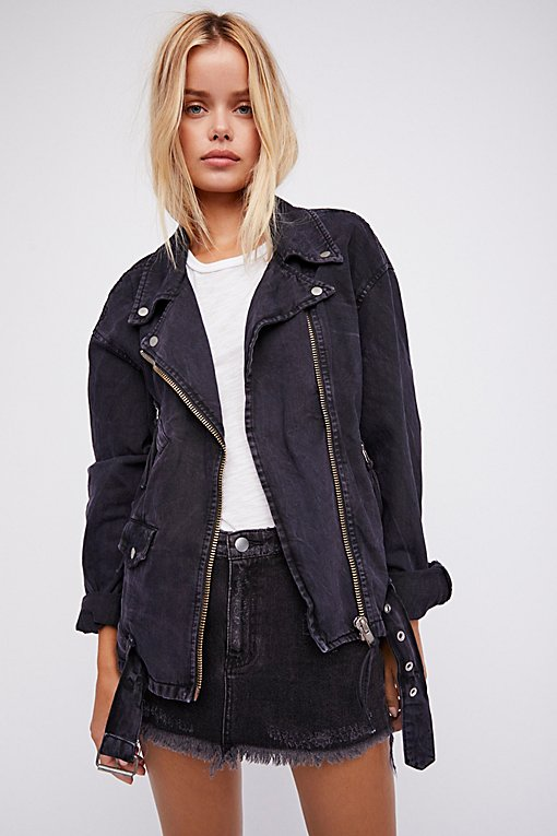 Product Image: Oversized Denim Moto Jacket