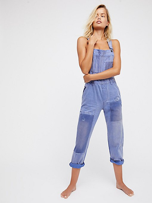 Product Image: Slouchy Patched Boyfriend Overalls