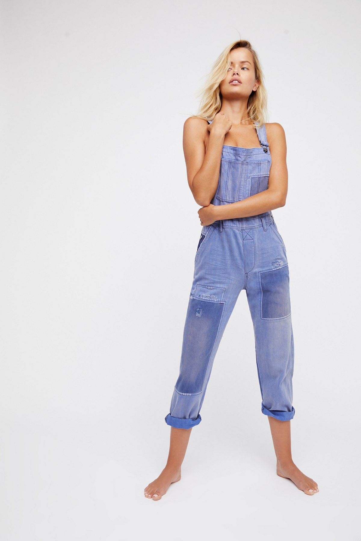 Slouchy Patched Boyfriend Overalls