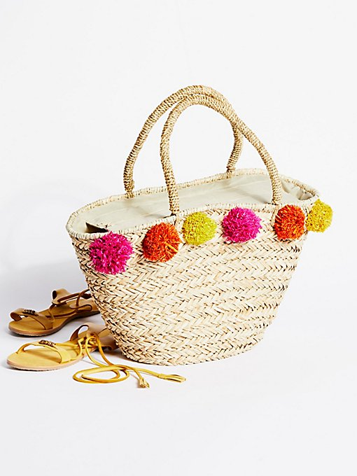 Product Image: Poms All Around Straw Tote